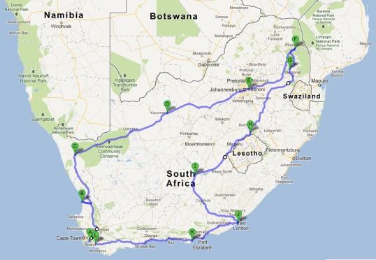 2013 Bike Tour Route